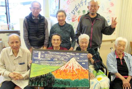 赤富士の貼り絵